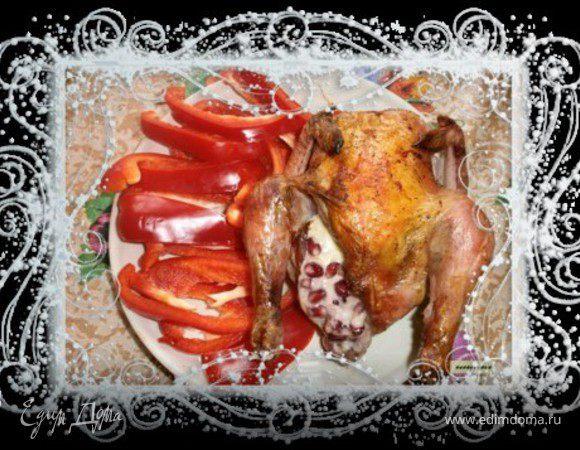 Цыпленок, фаршированный гранатом и сыром