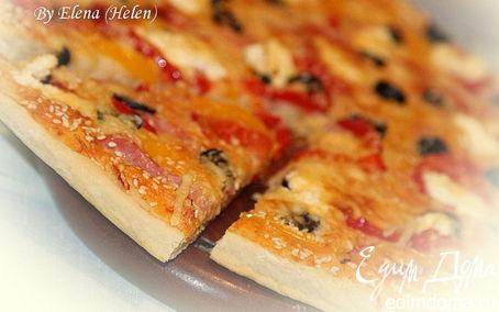 Рецепт Пицца с ветчиной, перцем и творожным сыром