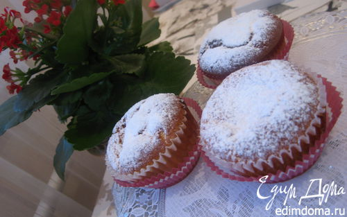 Рецепт Творожные кексы с заварным ванильным кремом