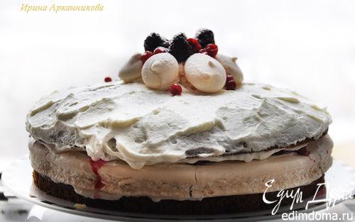 Рецепт Брусничный торт с безе