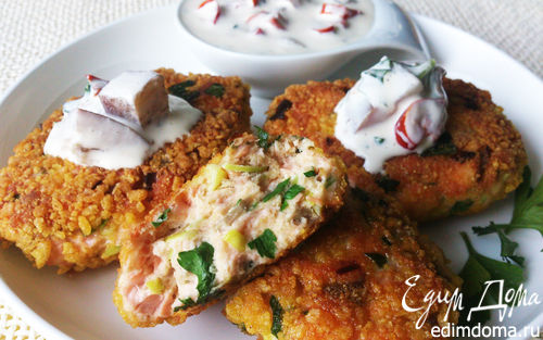 Рецепт Котлетки из лосося с томатным соусом
