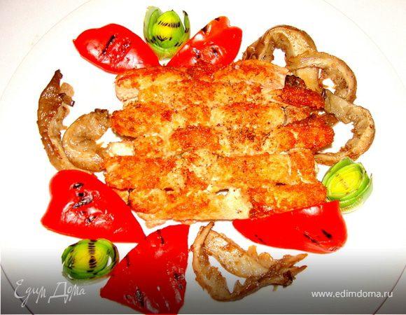 Плетенка из рыбы с овощами-гриль и вешенками