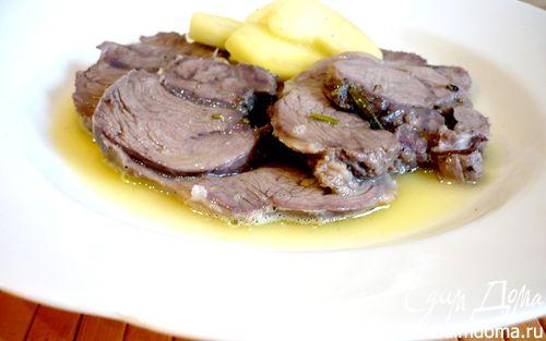 Рецепт Пошированное филе ягненка под яблочно-карамельным соусом