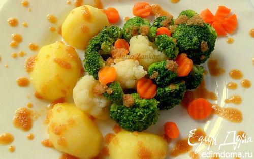 Рецепт Отварные овощи с поджаренными панировочными сухарями
