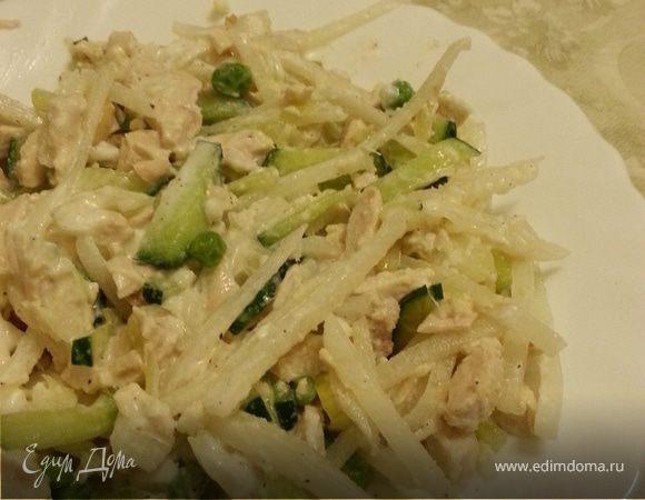 Зеленый салат из дайкона