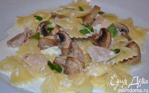 Рецепт Паста с филе кролика и шампиньонами в сливочном соусе