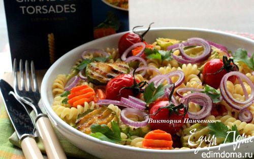 Рецепт Теплый салат с пастой джирандоле и запеченными овощами