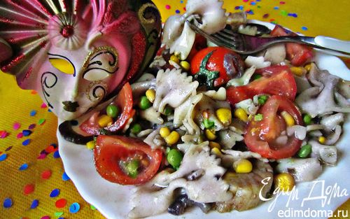 """Рецепт Рагу с морскими гребешками и пастой фарфалле """"Венецианский карнавал"""""""