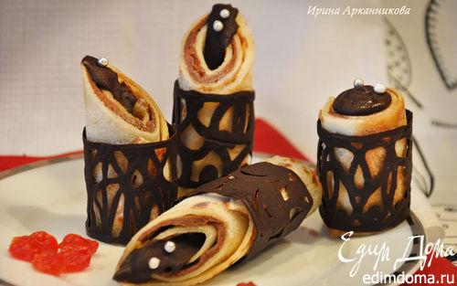 Рецепт Блины с молочной начинкой в шоколадных кольцах