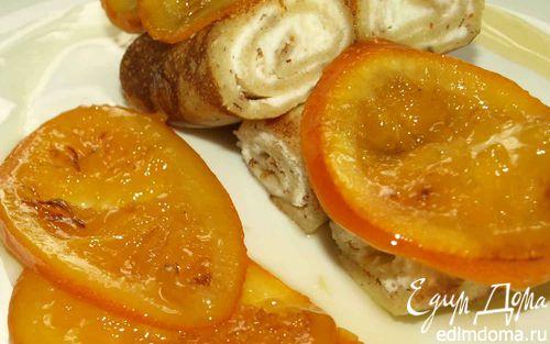 Рецепт Миндальные блинчики с рикоттой и карамелизированными апельсинами