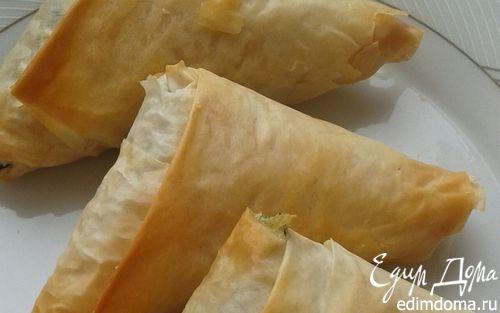 Рецепт Конвертики из теста фило со шпинатом и картофелем