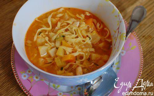 Рецепт Овощной суп с курицей и яичной лапшой