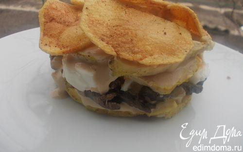Рецепт Слоеный салат с курицей и чипсами в пикантной заправке