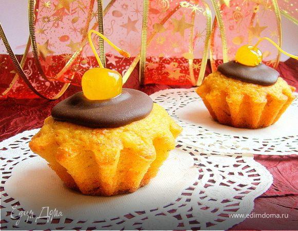 Мандариново-шафрановые кексы с шоколадной глазурью (постные)