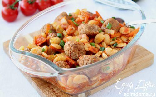 Рецепт Фрикадельки с фасолью и овощами