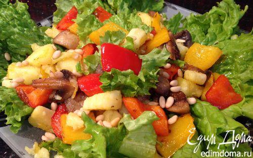 Рецепт Теплый салат с кедровыми орешками