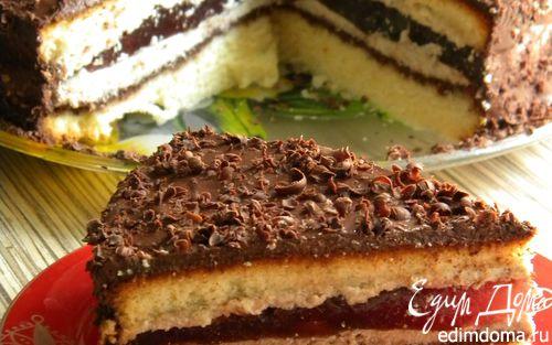 Рецепт Бисквитный торт с апельсиново-вишневым желе