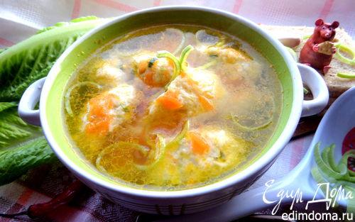 Рецепт Куриный суп с рисово-сырными клецками
