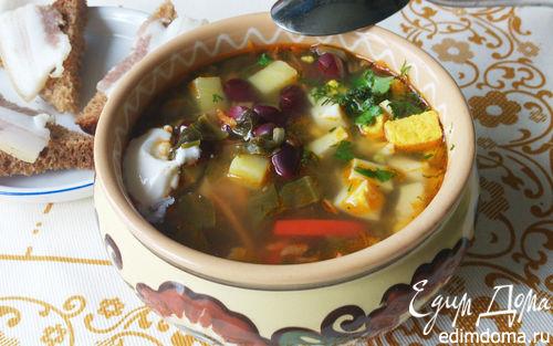 Рецепт Борщ с щавелем и фасолью