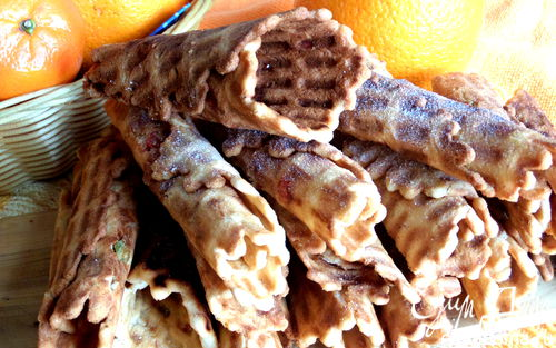 Рецепт Хрустящие вафли с цукатами в вафельнице