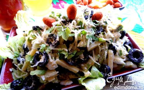 Рецепт Сырный салат с оливками и авокадо