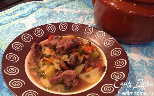 Рецепт Говядина тушеная с овощами в горшочке