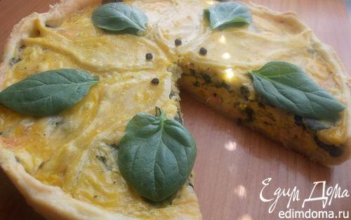 Рецепт Киш с семгой, двумя видами сыра и прованскими травками