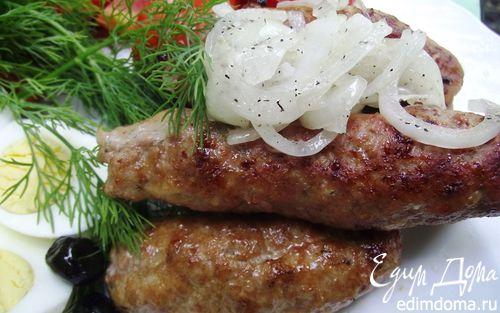 Рецепт Люля-Кебаб с маринованным луком и соусом