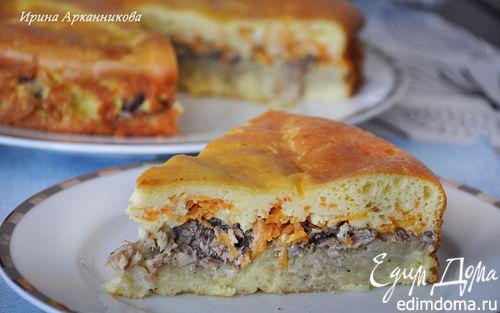 Рецепт Заливной пирог с рикоттой и сайрой