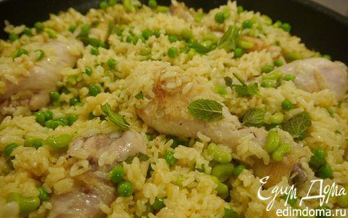 Рецепт Весенняя паэлья с курицей и молодыми овощами