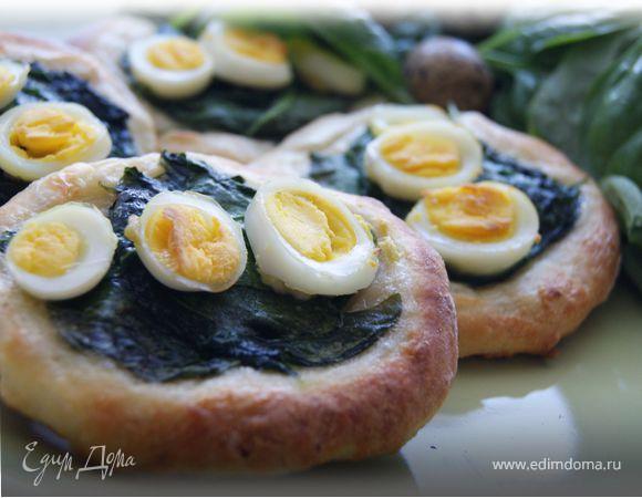 Мини-пироги из творожного теста со шпинатом