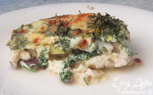 Рецепт Треска, запеченная с картофелем и шпинатом