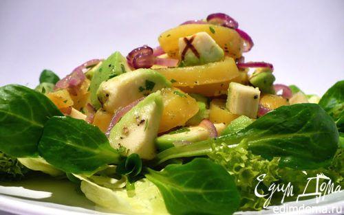 Рецепт Легкий салат из картофеля и авокадо на салатной подушке в аэрогриле