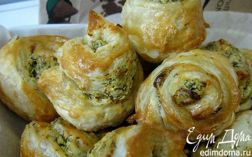 Рецепт Ленивые плюшки с рийетом из брынзы с чесноком и зеленью