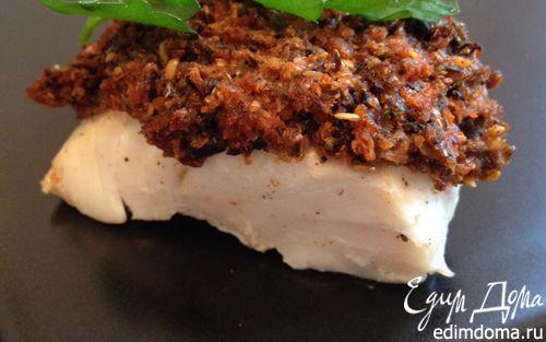 Рецепт Треска в корочке из оливок и вяленых помидоров (merluzzo in crosta)