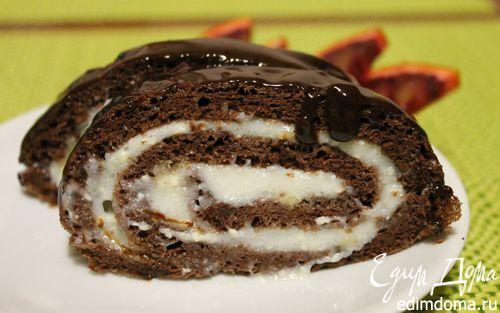 Рецепт Шоколадный рулет с кремом из манки