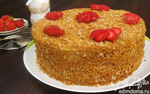Рецепт Карамельный торт с клубникой