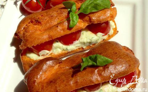Рецепт Закусочные томатные эклеры с кремом из моцареллы