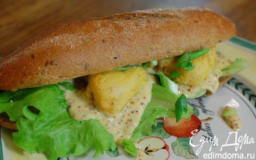Рецепт Сэндвич с рыбой в кляре и листьями салата