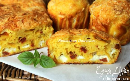 Рецепт Закусочный кекс с фетаксой и вялеными томатами