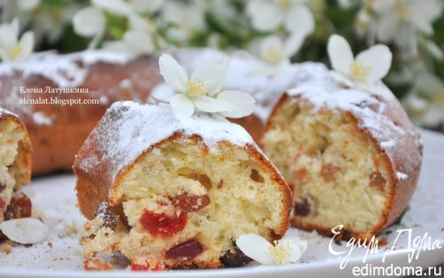 Рецепт Творожный кекс с вяленой вишней, клюквой и изюмом