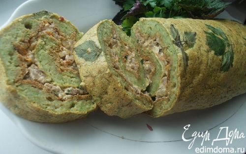 Рецепт Рулет из кабачкового теста с начинкой из овощей, мяса и сыра