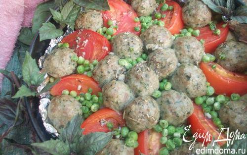 Рецепт Печеные овощи с мясными тефтелями
