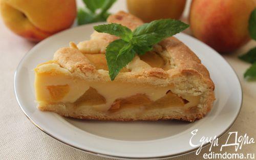 Рецепт Пирог с персиками и пудингом из ряженки