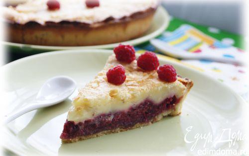 Рецепт Малиновый тарт со сливочной заливкой