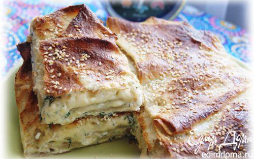 Рецепт Быстрый пирог из лаваша с сыром и зеленью