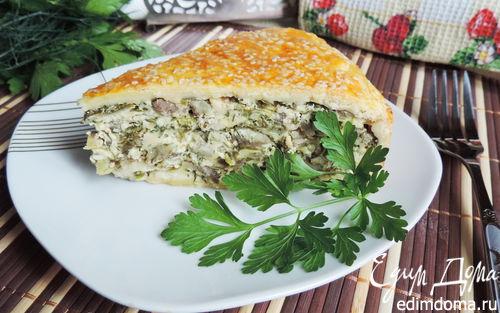 Рецепт Закрытый творожно-сырный пирог с баклажанами и зеленью