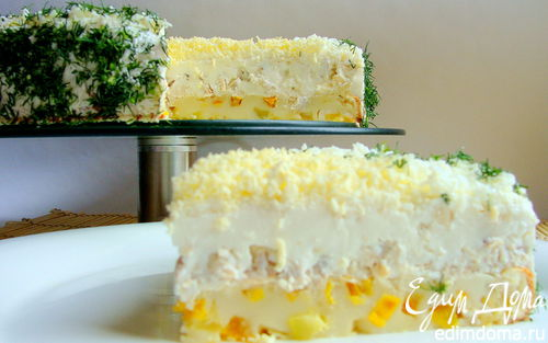 Рецепт Закусочный сырно-сливочный торт с курицей