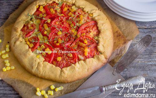 Рецепт Галета с козьим сыром, запеченным чесноком, томатами и кукурузой