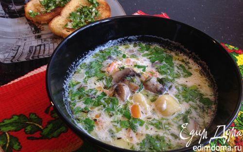 Рецепт Молочный суп с грибами